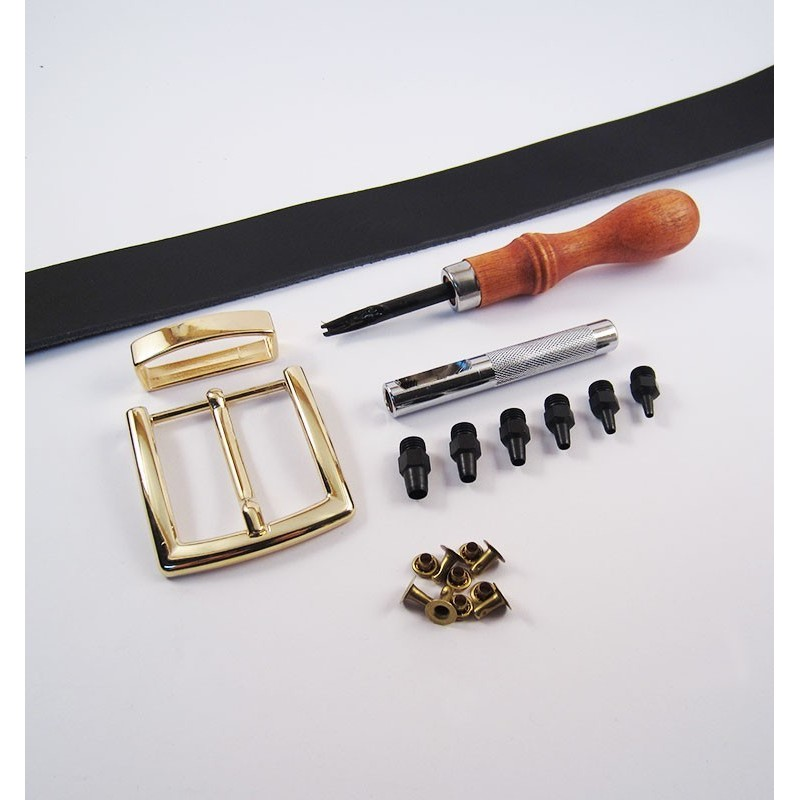 Kit premium de cinturón de cuero artesanal